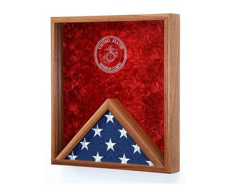 Custom Made Marine Corps Flag & Medal Display Case