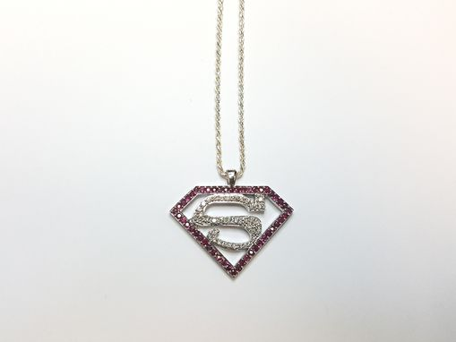 Custom Made Superman Pendant In Diamond And Ruby