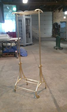 Custom Made Custom Brass And Bronze Rolling Clothing Rack
