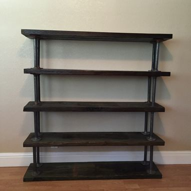 Custom Made Reclaimed Bookcase With Industrial Pipe Hardware