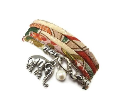 Custom Made Wrap Bracelet Made With Japanese Chirimen Cord And Lucky Elephant Charm And Pearl