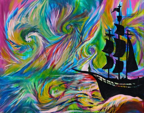Custom Made Painting - Psychedelic Ship- Pirate Ship Silhouette -Abstract Trippy