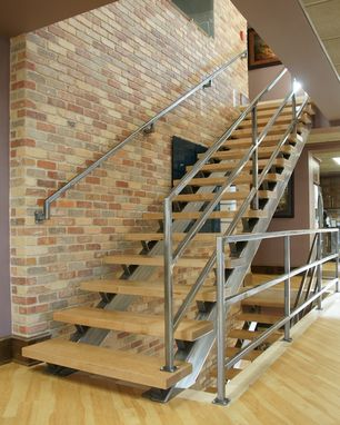 Custom Made Modern Steel And Wood Staircase