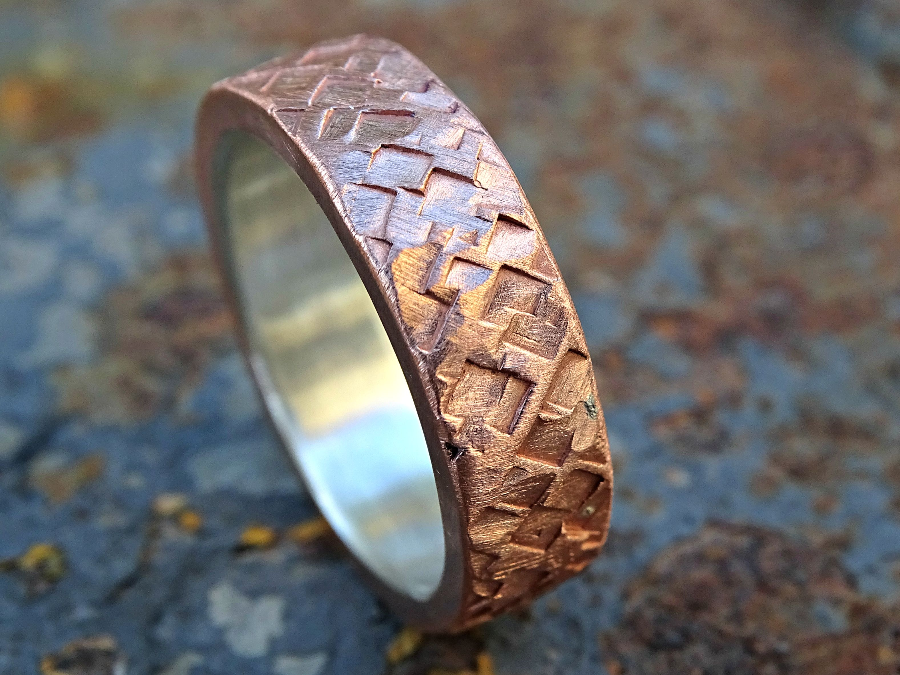 Buy a Hand Made Mixed Metal Wedding Ring Copper Silver Square ...