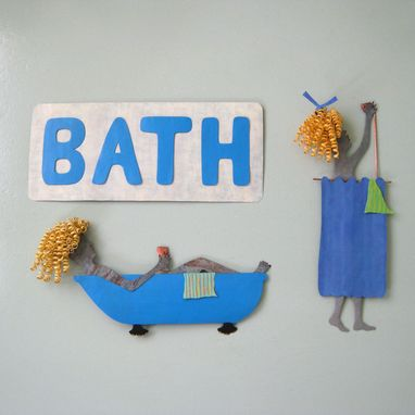 Custom Made Metal Sign Wall Art - Bathroom Decor - Repurposed Metal - Wall Hanging Sculpture 6 X 17 Blue