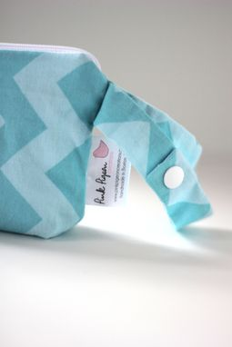 Custom Made Mini Gusseted Messy Bags (Snack Bags) - Aqua Chevrons