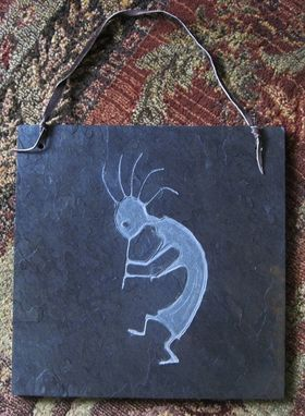 Custom Made Native American Indian Inspired Art Slate Carving - Kokopelli Wall Hanging With Leather Strap