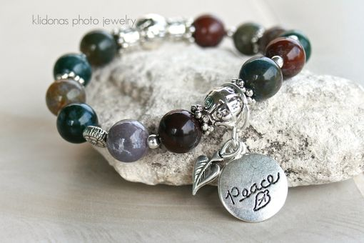 Custom Made Charm Bracelet, Beaded Boho Bracelet, Photo Bracelet, Peace Bracelet