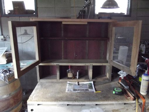 Custom Made Barnwood Liquor Cabinet With Cubbies