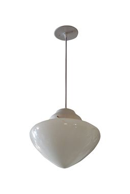 Custom Made Small Stylish Vintage Milk Glass Pendant Light
