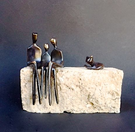 hand made family of three small bronze sculpture with cat by yenny