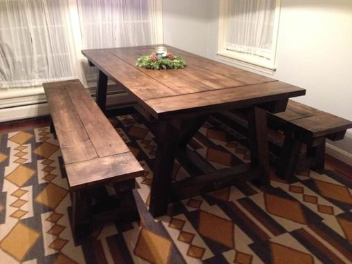 Custom Made Farmhouse Table And Benches
