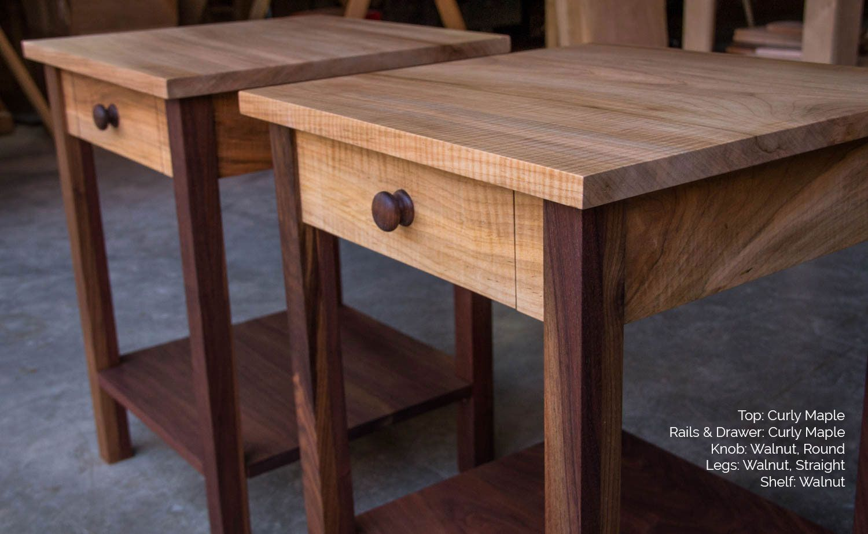 buy a handmade shakerinspired end side table nightstand of walnut  - custom made shakerinspired end side table nightstand of walnut cherryoak