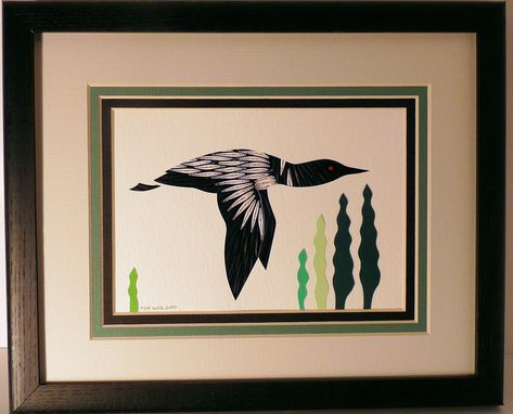Custom Made Loons - Quilled Framed Wall Art New Hampshire Loons