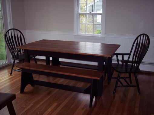 Custom Made Shaker Farm Table With Solid Maple Top W/ Maple Matching Bench