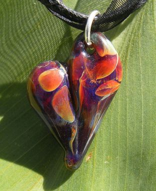Custom Made Funky Amber And Purple Glass Heart Necklace