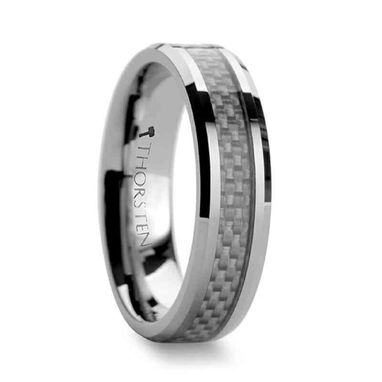 Custom Made Ultimus Beveled Tungsten Cardibe Ring With White Carbon Fiber Inlay 4mm - 12mm