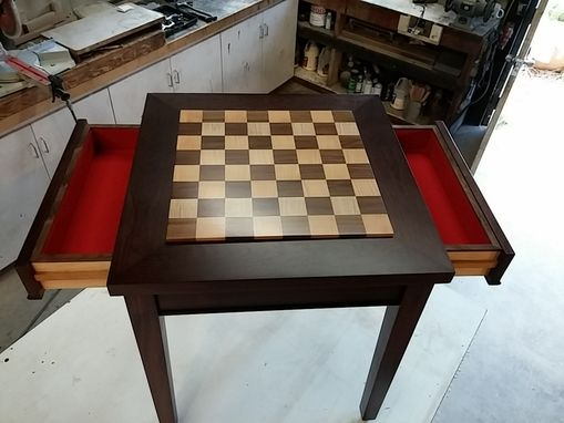 Hand Crafted Custom Exotic Wood Chess Table With Drawers