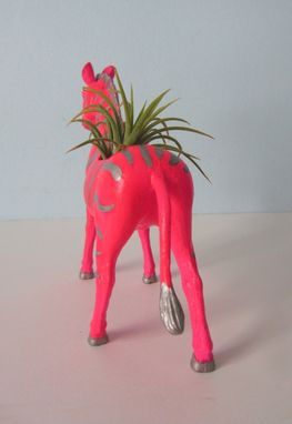 Custom Made Upcycled Toy Planter - Neon Pink Zebra With Silver Stripes And Air Plant