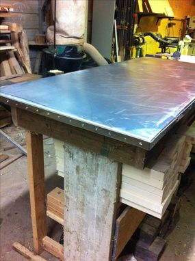 Custom Made Zinc Table Top W/ Stainless Pinned Banding