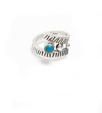 Custom Made Southwest Sterling Ring With Arizona Chrysocholla -Blue Stone Stamped Silver Wrap Ring