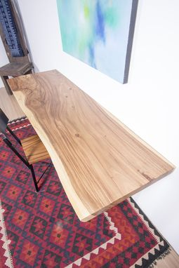 Custom Made Live Edge Wood Slab Table - Ideal For Home Office / Small Dining Table