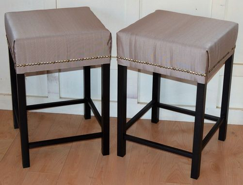 Custom Made Stained Solid Maple Kitchen Stools With Custom Cushions