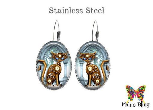 Custom Made Steampunk Cat Earrings - Glass And Stainless Steel
