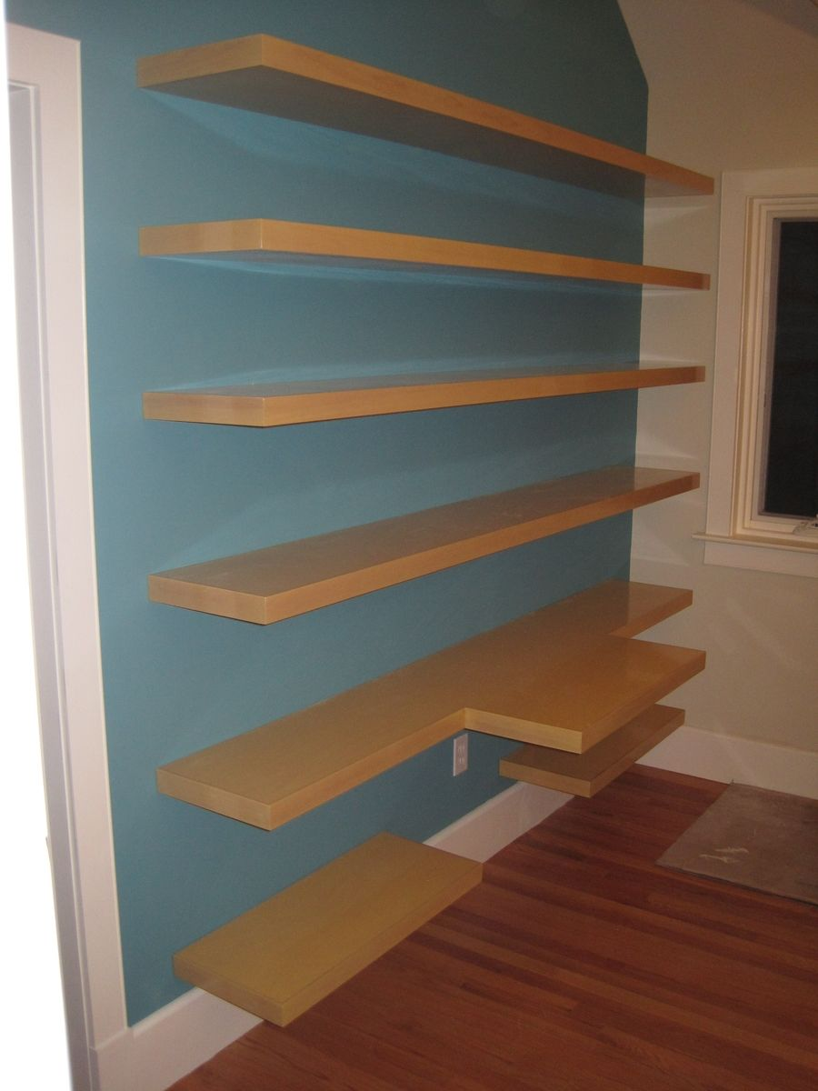 Custom Made Wall Shelving And Desk Top