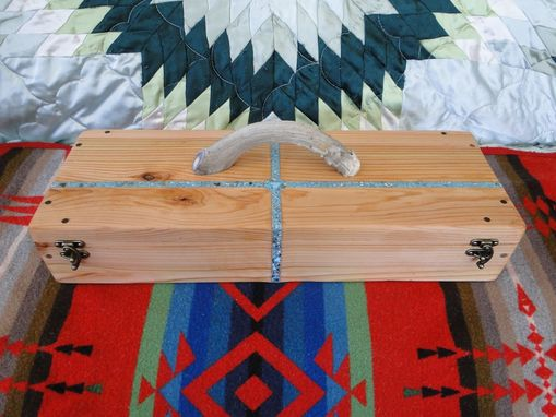 Custom Made Custom Cedar Feather Box With Four Directions Turquoise Inlay And Deer Antler Handle