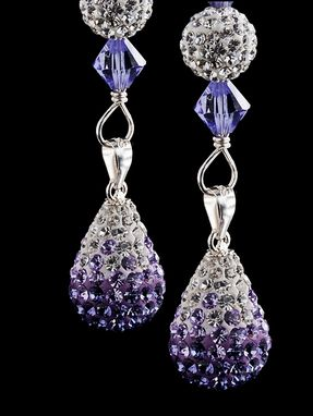 Custom Made Custom Swarovski Silver And Amethyst Drop Earrings