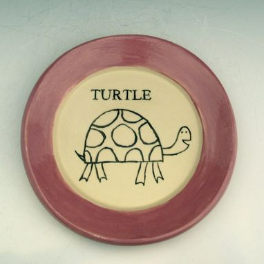 Custom Made Small Pottery Plate With A Turtle