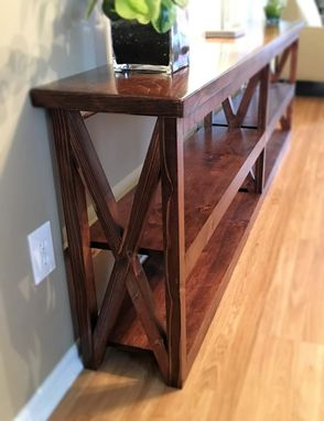 Custom Made Rustic X-Frame Console Shelf