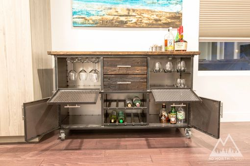 Custom Made Modern Rustic Industrial Reclaimed Bar Cart Storage Unit