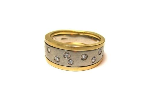 Custom Made Gold And Palladium Scattered Diamond Band