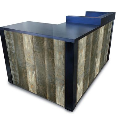 Custom Made #51 Surfside Distressed Laminate Wood  L Shaped Reception Desk Or Sales Counter
