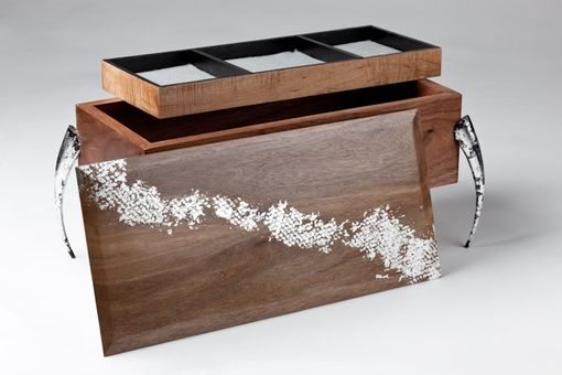 Custom Made Contemporary Jewelry Box With Silver Leaf