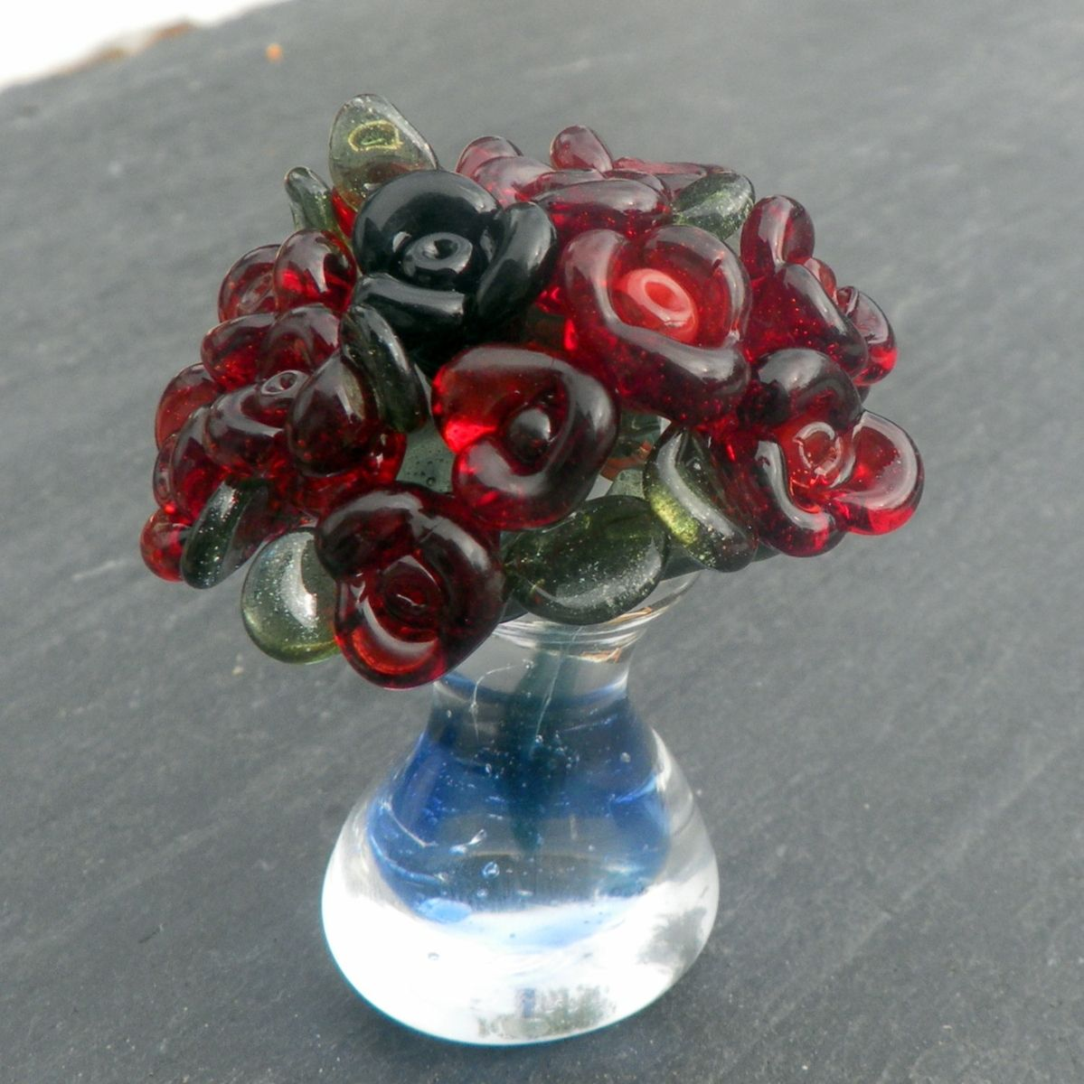 Custom made miniature glass bouquet of red roses in glass vase by custom made miniature glass bouquet of red roses in glass vase reviewsmspy