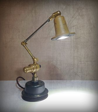 Custom Made Upcycled Industrial Dieselpunk Sculpture Lamp