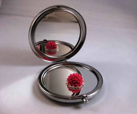 Custom Made Double-Sided Compact Mirror With Vines In Red Design