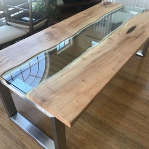 Custom Wood And Glass River Table By Custom Timber Llc Custommadecom