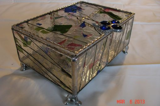 Custom Made Stained Glass Jewelry Box W/ Dividers In Blue, Pink & Green With Marbled Feet