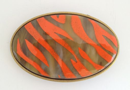 Custom Made Bright Orange Tiger Stripes On Amber Fused Glass Belt Buckle
