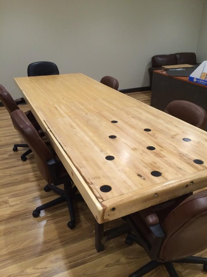 Buy A Hand Made Reclaimed Bowling Alley Conference Table