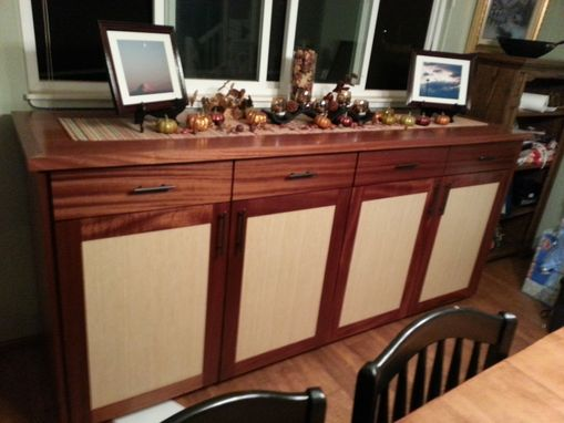 Custom Made Grain Matched Sapele And Bamboo Credenza