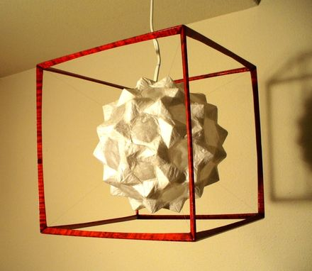 Custom Made White Hanging Globe In Red Cube