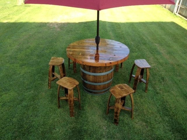 Custom Made Wine Barrel Umbrella Table Set