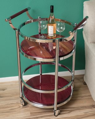 Custom Made Custom Exotic Wood Modern Lux Bar Carts