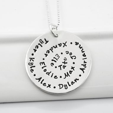 Custom Made Personalized Grandmother Necklace Spiral Hand Stamped