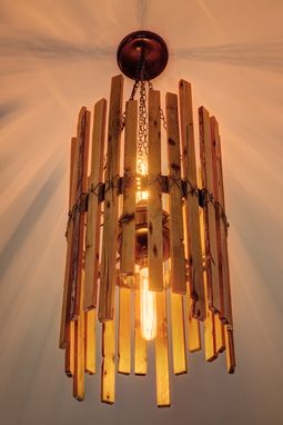Custom Made Rainbow Poplar Chandelier With Edison Bulbs